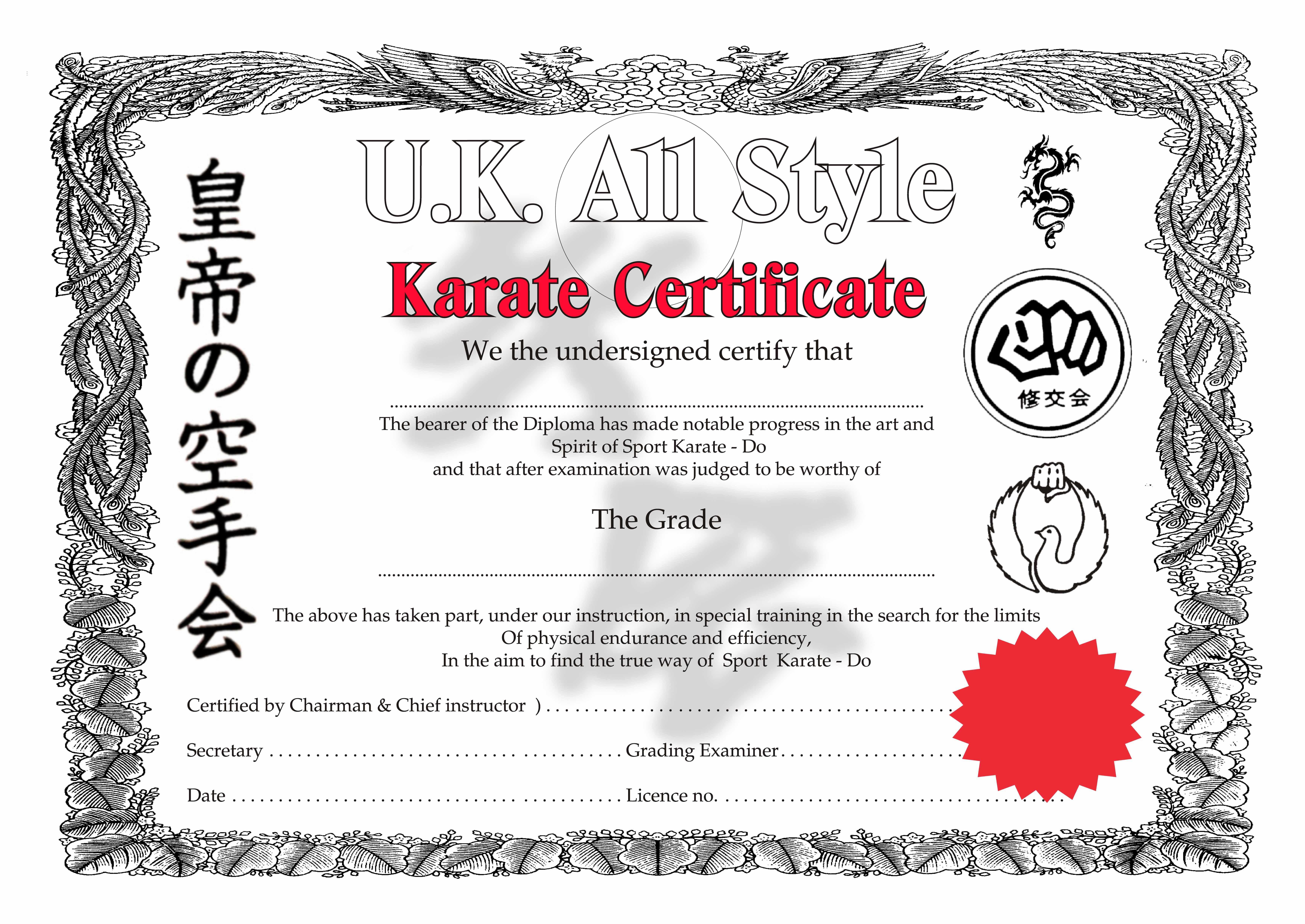 Martial Arts Certificate Borders